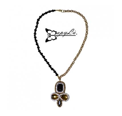 MAPYLU' – Collana con catena dorata, cristalli neri