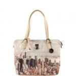 Shopping bag - Y Not? Borsa Shopping L Off White Gun Metal Beige Manhattan H 377