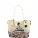 Shopping bag - Y Not? Borsa Shopping L White Gun Metal Funny in Rome H 377