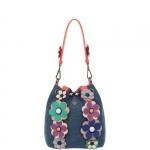 Secchiello - Le Pandorine Borsa Secchiello Bloom Bag Flowers Denim & Coral