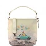 Shopping bag - Y Not? Shopping Bag L White Gun Metal Funny Rome H 349