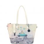 Shopping bag - Y Not? Shopping Bag L White Gun Metal Fun in Rome H 397