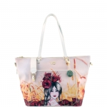 Shopping bag - Y Not? Borsa Shopping Bag L Off White Gold Poppies H 497