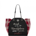 Shopping bag - Le Pandorine Borsa Shopping Bag Classic Wool NAVIGATORE Black