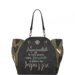 Shopping bag - Le Pandorine Borsa Shopping Bag Classic Patch IMPOSSIBILE Dark Grey
