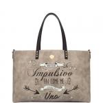 Shopping bag - Le Pandorine Borsa Shopping Bag Broadway Reversible Bag IMPULSIVO Taupe