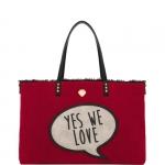 Shopping bag - Le Pandorine Borsa Shopping Bag Broadway Reversible Bag LOVE Red & Black Fur