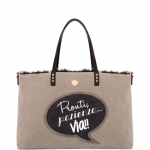 Shopping bag - Le Pandorine Borsa Shopping Bag Broadway Reversible Bag VIA Taupe & Star Fur