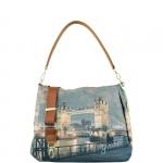 Shopping bag - Y Not? Borsa Shoulder Bag M Dark Tan Gold YLON Golden Bridge I 321 GBD