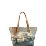 Shopping bag - Y Not? Borsa Shopping Bag Zip M Dark Tan Gold YLON Golden Bridge I 396 GBD