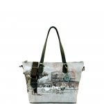 Shopping bag - Y Not? Borsa Shopping Bag Zip M Grey Gun Metal YROM Romantic Coach I 396 ROC