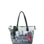 Shopping bag - Y Not? Borsa Shopping Bag Zip M Grey Gun Metal YLON Redbox I 396 RBX