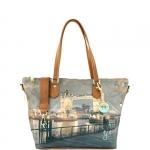 Shopping bag - Y Not? Borsa Shopping Bag Zip L Dark Tan Gold YLON Golden Bridge I 397 GBD