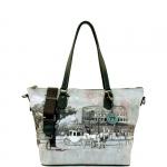 Shopping bag - Y Not? Borsa Shopping Bag Zip L Grey Gun Metal YROM Romantic Coach I 397 ROC