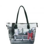 Shopping bag - Y Not? Borsa Shopping Bag Zip L Grey Gun Metal YLON Redbox I 397 RBX