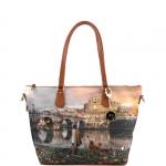 Shopping bag - Y Not? Borsa Shopping Bag Zip L Tan Gold Roma Joyful Wind K 397