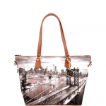 Shopping bag - Y Not? Borsa Shopping Bag Zip L Tan Gold New York East River K 397