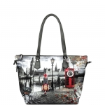 Shopping bag - Y Not? Borsa Shopping Bag Zip L Grey Gun London Autumn in London K 397