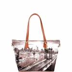 Shopping bag - Y Not? Borsa Shopping Bag Zip M Tan Gold New York East River K 396