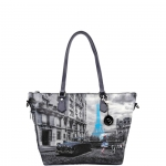 Shopping bag - Y Not? Borsa Shopping Bag Zip M Dark Blue Gun Paris Blue Rain K 396