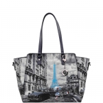 Shopping bag - Y Not? Borsa Shopping Bag L Dark Blue Gun Paris Blue Rain K 398