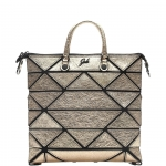 Shopping bag - Gabs Shopping Bag Piatta M Yoko Trasformabile In Pelle Metallizzata Platino