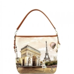 Shoulder Bag - Y Not? Borsa Shoulder Bag M Tan Gold Paris Vie En Rose L-349