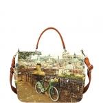Hand Bag - Y Not? Borsa Hand Bag L Tan Gold Rome Roman Holiday L-333