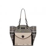 Shopping bag - Le Pandorine Borsa Shopping Bag L Classic 2.0 Pattern Geometric Tartan