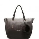 Shopping bag - Liu jo Borsa Shopping Bag L Sfumata Logo Lucciola Gun Metal / Frozen