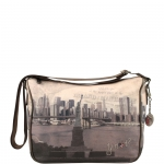Sacca - Y Not? Borsa Sacca M Taupe Gun Metal Liberty Island New York G-370