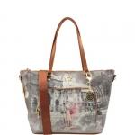 Shopping bag - Y Not? Borsa Shopping Bag M Dark Tan Gold Funny Rome Roma G-496