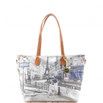 Shopping bag - Y Not? Borsa Shopping Bag L Cuoio Gold Metro Parisienne Parigi G-396