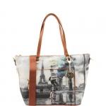 Shopping bag - Y Not? Borsa Shopping Bag M Dark Tan Gold Blue Baloon Pairs Parigi G-496