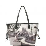 Shopping bag - Y Not? Borsa Shopping Bag M Grigio Gun Metal Flamenco Barcellona G-319