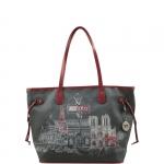 Shopping bag - Y Not? Borsa Shopping Bag M Dark Red Gun Metal Paris G-319