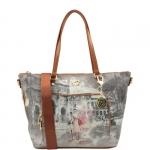 Shopping bag - Y Not? Borsa Shopping Bag L Dark Tan Gold Funny Rome Roma G-497