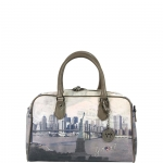 Bauletto - Y Not? Borsa Bauletto M Taupe Gun Metal Liberty Island New York G-337