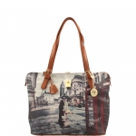 Shopping bag - Y Not? Borsa Shopping Bag Michelle M Cuoio Gold Romantic London Londra G-377