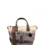 Shopping bag - Y Not? Borsa Shopping Bag S Taupe Gun Metal Liberty Island New York G-395