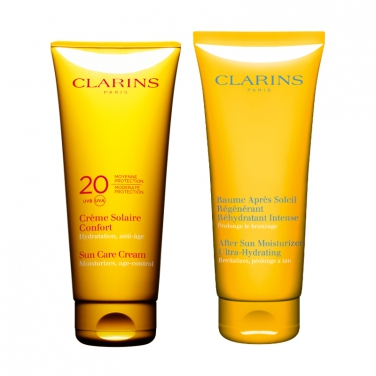 clarins creme solaire confort e baume apres solaire regenerant intense crema solare confort. Black Bedroom Furniture Sets. Home Design Ideas