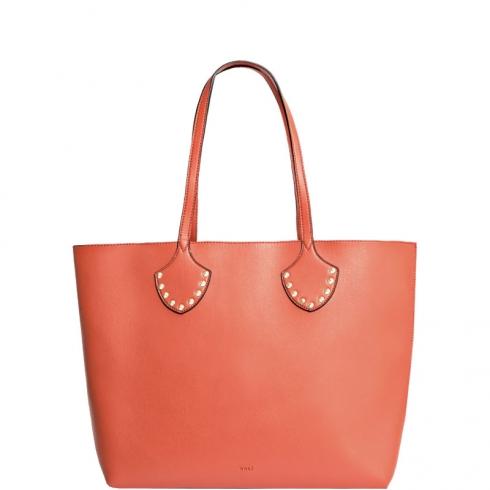 Borsa Shopping Bag L Borchie e Catena Arancio