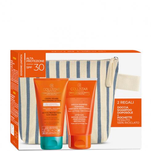 Crema Solare Protezione Attiva spf 30 Pelli Ipersensibili + Doccia Shampoo Doposole + Pochette NEW