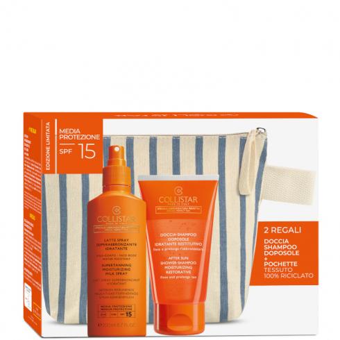 Latte Spray Superabbronzante Idratante Spf 15 + Doccia Shampoo Doposole + Pochette NEW