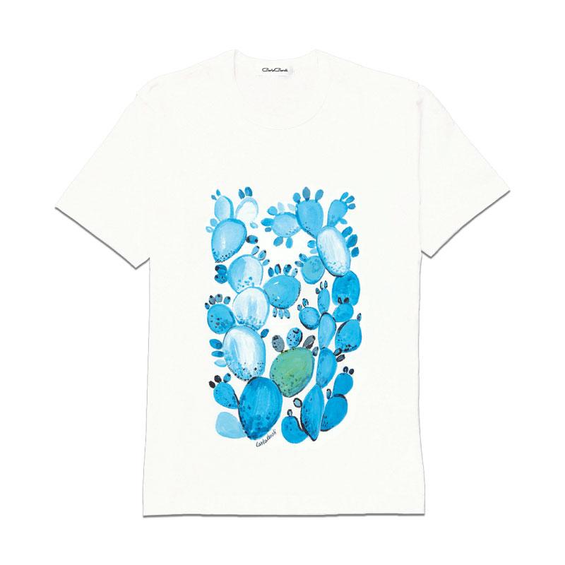Carla Caroli T-Shirt in cotone dipinta a mano CCT01 CCT01-1 Fico Azzurro Taglia Bambino fino a 12 anni