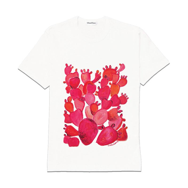 Carla Caroli T-Shirt in cotone dipinta a mano CCT02 CCT02-1 Fico Rosso Taglia Bambino fino a 12 anni