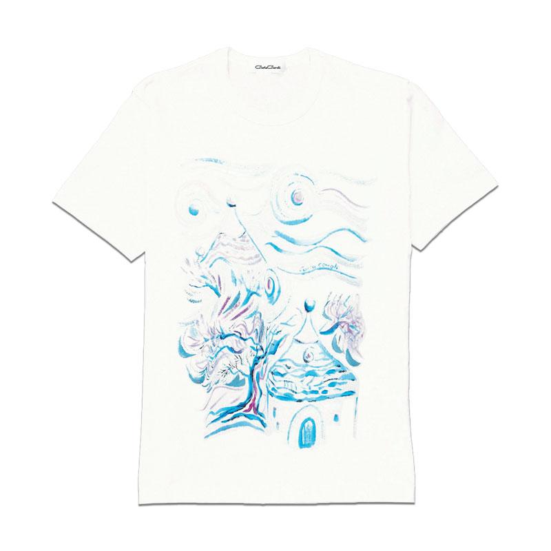 Carla Caroli T-Shirt in cotone dipinta a mano CCT04 CCT04-1 Trullo Azzurro Taglia Bambino fino a 12 anni