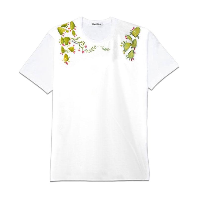 Carla Caroli T-Shirt in cotone dipinta a mano CCT05 CCT05-1 Fico Verde Taglia Bambino fino a 12 anni