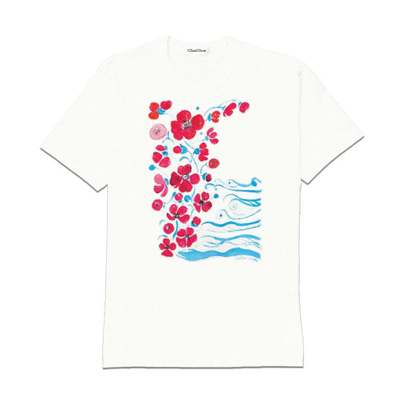 Carla Caroli T-Shirt in cotone dipinta a mano CCT08 CCT08-1 Fiori Rossi Taglia Bambino fino a 12 anni