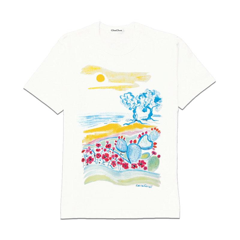 Carla Caroli T-Shirt in cotone dipinta a mano CCT09 CCT09-1 Sole Giallo Taglia Bambino fino a 12 anni